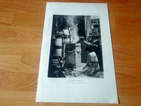 1892年铜凹版腐蚀《向密涅瓦献祭》(offering to minerva)--  -- 选自传奇史诗《特洛伊战争》-- 维也纳艺术画廊出版发行 -- 版画纸张42*28厘米