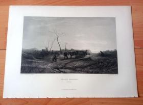 【透纳】1880年钢版画《风景画:冬日雾晨》(FROSTY MORNING)-- 出自西方艺术史最杰出的风景画家,威廉·透纳(William Turner)作于1813年的油画,藏于英国泰特美术馆 -- 画作描绘在一个寒冷的冬天透纳造访约克郡时的场景;油画中可以看到透纳的大女儿Evelina(穿蓝色衣服的小女孩)和他的那匹带有耳印的枣色大马(正拖着马车)-- 选自透纳画廊 -- 版画36*27厘米