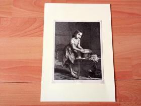 19世纪木刻版画《儿童童话艺术绘画:少年当家》(The Little Laundress)-- 后附卡纸30*21厘米,版画纸张19*15厘米