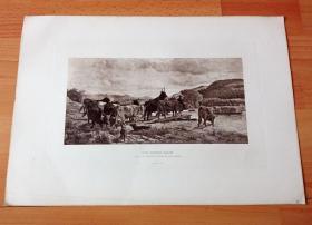 1884年照相凹版《渡溪》(THE FERRY-BOAT)-- 出自19世纪德国风景画家,奥托·韦伯(Otto Weber,1832–1888)的油画作品 -- 美国Gebbie艺术公司出版 -- 版画纸张43*30厘米