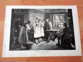 1884年大幅木刻版画《乡村法庭》(Die Dorfklatsche)-- 出自19世纪德国画家,奥古斯特·海恩(August Heyn,1831–1920)的油画作品 -- 版画纸张41.5*27厘米
