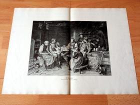 1884年超大木刻版画《英雄的凯旋》(Der Urlauber)-- 出自19世纪著名奥地利风俗画家,弗朗兹·冯·德弗雷格(Franz von Defregger,1835-1921)的油画作品 -- 版画纸张57.5*42厘米