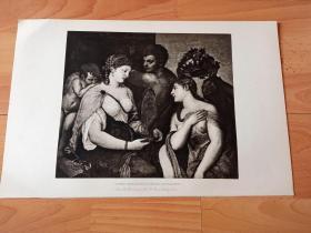 1892年铜凹版腐蚀《维纳斯的礼赞》(VENUS INITIATING A YOUNG BACCHANTE)-- 出自文艺复兴后期威尼斯画派代表画家,提香·韦切利奥(Tiziano Vecellio)作于1518年的油画,藏于西班牙马德里普拉多美术馆 -- 画中的维纳斯正在接受一名年轻的酒神女祭司的祝贺 -- 选自《特洛伊战争》-- 维也纳艺术画廊出版 -- 版画纸张42*28厘米