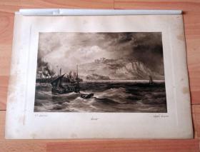 1892年铜凹版腐蚀版画《德文海岸:朴茨茅斯海军基地》(Dover)-- 出自19世纪英国风景画家,亨利·托马斯·道森(Henry Thomas Dawson,1844–1896)的油画作品,雕刻师:Alfred Dawson(1843–1931)-- 画作描绘位于英国西南部,德文郡海岸的朴次茅斯海军基地,自15世纪起英国皇家海军就在此驻扎,为皇家海军最古老的海军基地 -- 版画纸张35*25厘米