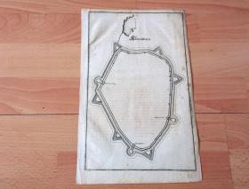 1650年铜版雕刻地图《梅里安地图:多瑙河畔的科恩堡,奥地利》(Korneuburg)-- 出自十七世纪欧洲最伟大的铜版画雕版师,马特乌斯·梅里安(Matthaus Merian,1593-1650)雕版雕刻 -- 版画纸张31*20厘米