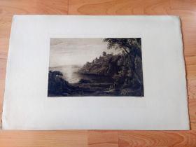 1889年巨幅铜版蚀刻版画《风景画:海岸晨曦,晨雾中的古堡》(Coastal castle in the Morning)-- 出自19世纪苏格兰风景画家,约翰·汤姆森(John Thomson,1778–1840)作于1826年的油画,藏于苏格兰国家画廊 -- 画中描绘苏格兰东海岸巴斯岩附近的中世纪古堡:渡鸦堡(Ravensheugh Castle)日出中的景色 -- 版画纸张53*35厘米