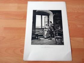 1884年照相凹版《惬意的午后》(THE SIESTA)-- 出自19世纪德国画家,奥古斯特·约翰·霍姆伯格(August Johann Holmberg,1851–1911)的油画作品 -- 美国Gebbie艺术公司出版 -- 版画纸张43*30厘米