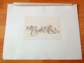 """1884年铜凹版腐蚀版画《泉边的朝圣者》(PILGERCARAWANE)-- 出自19世纪著名德国画家、插图画家和版画家,路德维希·里克特(Ludwig Richter,1803-1884)的""""白描""""作品,作品墨色淡,线条细如发丝 -- 奥地利维也纳艺术画廊出版 -- 版画纸张38*29厘米"""