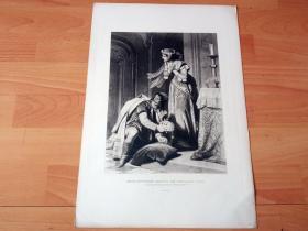 """1884年照相凹版《中世纪传说:海伦·科特纳盗取匈牙利""""神圣王冠""""》(HELEN KOTTANNER ABDUCTS THE HUNGARIAN CROWN)-- 出自德国画家,费迪南德·冯·皮洛蒂(Ferdinand von Piloty,1828–1895)油画 -- 匈牙利的神圣王冠又名圣伊斯特万王冠,是民族历史与国家主权的伟大象征-- 美国Gebbie艺术公司出版 -- 版画43*30厘米"""