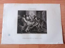 1821年铜版画《费莱蒙和鲍西丝热情款待下凡的宙斯与赫密士》(PHILEMON UND BAUCIS)-- 出自17世纪佛兰德画家,雅各布·乔登斯(Jacob Jordaens)油画 -- 取材古罗马诗人奥维德著作《变形记》,宙斯与赫密士伪装成乞丐,贫穷的老夫妇鲍西丝和费莱蒙,因为款待和维护了两名天使而被告知要带同亲属离开所多玛以逃过神罚 -- 维也纳美景宫画廊出版 -- 版画26*18厘米