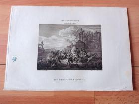 1821年铜版画《西班牙王位继承战争:骑兵会战》(REITER GEFECHT)-- 出自17世纪荷兰黄金时代战争题材画家,杨·范·胡赫腾堡(Jan van Huchtenburg,1647–1733)油画 -- 西班牙王位继承战争(1701—1714)是法国波旁王朝与奥地利哈布斯堡王朝为争夺西班牙王位,而引发的一场欧洲大部分国家参与的大战 -- 维也纳美景宫画廊出版 -- 版画纸张26*18厘米