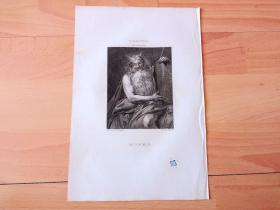1821年铜版画《摩西十诫》(MOSES)-- 出自17世纪著名法国画家,卡拉瓦乔的追随者,瓦伦汀·德·布伦(Valentin de Boulogne)作于1628年的油画,藏于维也纳艺术史博物馆 -- 维也纳美景宫画廊出版 -- 版画纸张26*18厘米