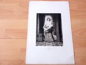 1884年照相凹版《春之颂》(SPRING)-- 出自19世纪比利时画家,弗洛伦特·威勒姆斯(Florent Willems,1823–1905)的油画作品 -- 美国Gebbie艺术公司出版 -- 版画纸张43*30厘米