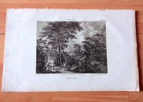 1814年铜版画《田园牧歌:春涧流泉》(PAYSAGE)-- 出自17世纪荷兰风景画家,威廉·德·赫希(Willem De Heusch,1625–1692)的油画作品 -- 选自《法国博物馆藏画集,编号142》-- 版画纸张27*17.5厘米
