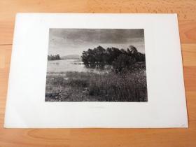 1884年照相凹版《风景画:云迷雾锁的深秋》(CHILL OCTOBER)-- 出自19世纪著名英国拉斐尔前派画家、创始人之一,约翰·埃弗里特·米莱斯(John Everett Millais,1829-1896)的油画作品 -- 美国Gebbie艺术公司出版 -- 版画纸张43*30厘米