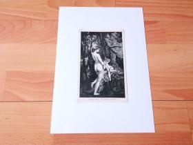 19世纪木刻版画《历代大师笔下的女性人体艺术:梳妆的维纳斯》(TOILET OF VENUS)-- 出自法国学院派画家,保罗·博德里(Paul Baudry,1828~1886)的油画作品 -- 后附卡纸30*21厘米,版画17.5*11厘米