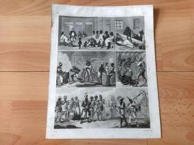 1848年钢版画《世界近代史图版34:美国近代史,奴隶制与黑奴贸易》(Slave Trade)-- 黑奴贸易开始于15世纪,专指欧洲殖民者把非洲的黑人贩卖到美洲充当奴隶,大量的非洲黑人来到了美洲;1860年美国南北战争结束后,黑奴贸易才被终止 -- 版画纸张30*24厘米