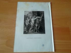 1821年铜版画《赫克托耳的诀别》(HECTORS ABSCHIED)-- 出自18世纪弗兰德画家,安德列斯·克内勒斯·勒斯(Andries Cornelis Lens,1739–1822)油画 -- 赫克托耳是荷马史诗中参加特洛伊战争的凡人英雄,特洛伊王子和特洛伊第一勇士,战争中特洛伊方的统帅;最后和希腊联军第一勇士阿喀琉斯决斗,落败而亡 -- 维也纳美景宫画廊出版 -- 版画纸张26*18厘米