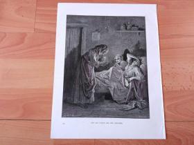 1883年木口木刻版画《格林童话:森林中的老妇人》(THE OLD WOMAN AND HER SERVANTS)-- 出自19世纪著名法国版画家、雕刻家和插图作家,古斯塔夫·多雷(Gustave Doré)作品 -- 画作取材格林童话,贫苦的小女仆在森林中遭遇强盗,走投无路时,一只鸽子给她衔来了金钥匙,最后她在白鸽的引导下,破了森林中老巫婆的魔法,解救了变为树的王子 -- 版画纸张31*24厘米
