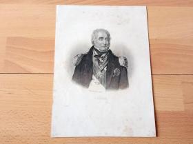 1860年钢版画《大英帝国名将肖像:查理·内皮尔将军戎装肖像(蒸汽船的发明者)》(CHARLES NAPIER)-- 查理·内皮尔(1786-1860),英国海峡舰队司令,海军上将,1814年在美洲沿海地区服役,参与了火烧白宫的行动,1814年弗朗西斯·斯科特·基就是在他船上创作《星条旗永不落》-- 出自德国斯图加特出版《拿破仑战争中的欧洲名将传》-- 版画纸张23.5*17厘米,附外海网站参考