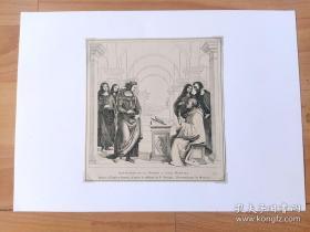 1884年木刻版画《文艺复兴时期大师作品:圣•伯纳德的幻象》(APPARITION DE LA VIERGE A SAINT BERNARD)-- 出自文艺复兴时期意大利画家,Pietro Perugino作于1493年的油画,藏于慕尼黑老绘画陈列馆 -- 画作描绘中世纪著名学者,圣•伯纳德在布道时,处女以幻象的形式出现在他面前 -- 后附卡纸30*21厘米,版画纸张15*14.5厘米