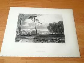 """【透纳】1880年钢版画《风景画:巴特尔修道院(记功寺)》(BATTLE ABBEY)-- 出自西方艺术史最杰出的风景画家,威廉·透纳(William Turner)作于1838年的油画 -- 巴特尔修道院意为""""战斗修道院"""",真名为圣马丁修道院,国英位于英格兰东萨塞克斯郡的黑斯廷斯,是英国历史上著名的黑斯廷斯之战发生地,撒克逊国王哈罗德战败于此 -- 选自透纳画廊 -- 版画36*27厘米"""