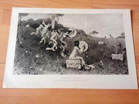 1892年铜凹版腐蚀《酒神节狂欢》(BACCHANTES DANCING)-- 出自法国画家,查尔斯·爱德蒙·道克斯(Charles Edmond Daux,1855–1937)的油画作品 -- 选自传奇史诗《特洛伊战争》-- 版画纸张42*28厘米