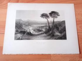 """【透纳】1880年钢版画《风景画:贝亚湾,阿波罗与女先知》(THE BAY OF BALAE(APOLLO AND THE SIBYL))-- 出自英国浪漫主义风景画家,威廉·透纳(William Turner)作于1823年的油画,藏于泰特美术馆 -- 画作以意大利那不勒斯的贝亚湾为背景,描绘""""阿波罗与女先知""""的神话故事,画作充斥着时光流逝的辛酸主题 -- 选自透纳画廊 -- 版画36*27厘米"""
