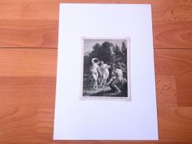 19世纪木刻版画《荷兰黄金时代大师绘画作品:众宁芙侍奉阿波罗》(NYMPHS)-- 出自17世纪荷兰黄金时代著名画家,阿德里安·凡·德·韦夫(Adriaen van der Werff,1659-1722)的油画 -- 阿波罗是希腊神话中的太阳神,宁芙在希腊神话中则表示神界里的侍女,她们年轻美貌、能歌善舞 -- 后附卡纸30*21厘米,版画纸张14*11厘米