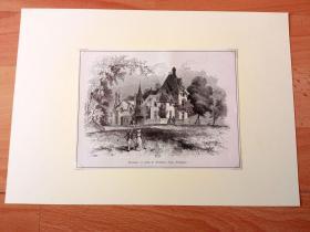 19世纪木刻版画《美国名人故居与建筑艺术:19世纪美国著名作家约翰·E·威廉姆斯的庄园别墅,弗吉尼亚州欧文顿》(Residence of John E.Williams,Irvington)-- 欧文顿小镇(Irvington)位于哈德逊河畔,距离曼哈顿25英里; 欧文顿小镇绿茵环绕,拥有哈德逊河畔公园的怡人风光,被誉为美国最美丽的城镇之一 -- 后附卡纸30*21厘米,版画纸张17*13厘米