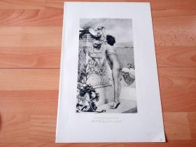 1892年铜凹版腐蚀《埃司若拉皮乌女祭司》(SACRIFICE TO ESCULAPIUS)-- 出自法国画家,Gustave Léon Antoine Marie Popelin(1859–?)油画,大英博物馆馆藏 -- 画中的埃司若拉皮乌女祭司正在给埃司若拉皮乌(希腊神话中的医学之神)祭坛添加贡品 -- 选自《特洛伊战争》-- 维也纳艺术画廊出版 -- 版画42*28厘米