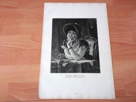 1884年大幅木刻版画《迷人的微笑》(Gut gelaunt)-- 出自19世纪德国画家,Hans Louis的油画作品 -- 版画纸张42*28厘米