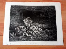 1883年木口木刻版画《但丁和维吉尔共渡冥河》(THE STYGIAN LAKE)-- 出自19世纪著名法国版画家、雕刻家和插图作家,古斯塔夫·多雷(Gustave Doré,1832-1883)绘画作品 -- 取材于13世纪意大利诗人,但丁的《神曲·地狱篇》,描绘但丁被维吉尔(古罗马最伟大的诗人)邀请一起游览地狱的场景 -- 版画纸张31*24厘米
