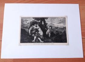 19世纪木刻版画《历代大师笔下的女性人体艺术:维纳斯与阿多尼斯的欢爱》(VENUS AND ADONIS)-- 出自文艺复兴时期威尼斯画派画家,乔尔乔内(Giorgione,1477-1510)油画 -- 取材古罗马神话,描述爱神维纳斯和美男子阿多尼斯的爱情故事;维纳斯和丘比特玩耍时胸部被其弓箭所伤,治疗伤口时维纳斯遇到了阿多尼斯,并一见钟情 --后附卡纸30*21厘米,版画18.5*11.5厘米