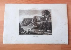 1814年铜版画《俊美猎人刻法罗斯与普洛克里斯的爱情悲剧》(PAYSAGE)-- 出自17世纪意大利著名波伦亚画派画家,多美尼基诺(Domenichino/Le Dominiquin,1581-1641)油画,藏于卢浮宫 -- 取材希腊神话,晨光女神奥罗拉爱上了刻法罗斯,她施计让刻法罗斯在狩猎中用百发百中的矛误杀妻子普洛克里斯 -- 选自《法国博物馆藏画集,编号118》-- 版画纸张27*18厘米