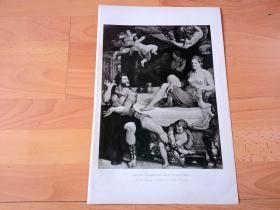 1892年铜凹版腐蚀《神使墨丘利督促埃涅阿斯离开狄多女王》(MERCVRY COMMANDING ENEAS TO LEAVE DIDO)-- 出自16世纪法国画家,Martin Fréminet的油画 -- 为替代在战火中毁灭的特洛伊,朱庇特差派使者墨丘利传命给埃涅阿斯,要他建设一个新的特洛伊(罗马),于是埃涅阿斯不得不舍弃迦太基女王狄多 -- 选自传奇史诗《特洛伊战争》-- 版画42*28厘米