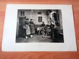 1884年照相凹版《圣诞清晨的访客》(FETE DAY)-- 出自19世纪著名奥地利画家,马蒂亚斯·施密德(Matthias Schmid,1835-1923)的油画作品 -- 美国Gebbie艺术公司出版 -- 版画纸张43*30厘米