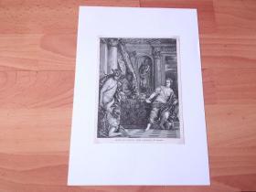 19世纪木刻版画《文艺复兴大师作品:维纳斯与赫尔墨斯教导小爱神小丘比》(HERMES AND AGRAULOS)-- 出自文艺复兴时期威尼斯画派大师,保罗·委罗内塞(Paul Veronese)作于1584年的油画,藏于英国剑桥大学菲茨威廉博物馆 -- 画作描绘希腊神话中司教育的神赫耳墨斯,他和爱神维纳斯共同教育小丘比特 -- 后附卡纸30*21厘米,版画纸张18*14厘米