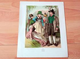 19世纪手工上色石版画《巴伐利亚风情,与多瑙河畔亚赫瑙的田园风光》(Bayern,Jachenau)-- 出自19世纪德国画家,石版画家,Albert Kretschmer(1825–1891)作品 -- 德国莱比锡画廊出版 -- 版画纸张33*27厘米