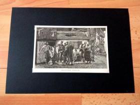 19世纪木刻版画《征兵:阿尔卑斯山下的巴伐利亚山村》(Arrest a Poacher:Bavarian Alps)-- 巴伐利亚阿尔卑斯山是中阿尔卑斯山脉的东北部分,横亘在德国和奥地利边境;西起莱希塔尔山,东至奥地利库夫施泰因附近的因河左岸,长约110公里 -- 后附卡纸30*21厘米,版画纸张18*12厘米