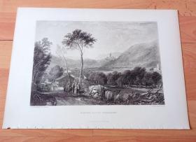 【透纳】1880年钢版画《风景画:约克郡山谷与霍恩比城堡》(HORNBY CASTLE,YORKSHIRE)-- 出自英国浪漫主义画家,西方艺术史最杰出的风景画家,威廉·透纳(William Turner)的油画作品,该作为私人收藏 -- 霍恩比城堡是英国约克郡山谷的中世纪城堡,位于童话般的罗森戴尔山谷群山中,城堡三面被温宁河所环绕 -- 选自透纳画廊 -- 版画36*27厘米