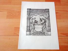 1886年珂罗版版画《骑士的荣耀之门》(Portal mit schildhaltenden Landsknechten,RECENSIONEN)-- 出自欧洲北方文艺复兴代表画家,小汉斯·荷尔拜因(Hans Holbein,约1497-1543)的绘画作品 -- 奥地利维也纳艺术画廊出版发行 -- 版画纸张38.5*29厘米