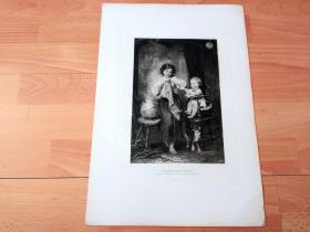 1884年照相凹版《迫不及待的孩子》(TWO IMPATIENT GUESTS)-- 出自19世纪德国风俗画家,安东·海因里希·迪芬巴赫(Anton Heinrich Dieffenbach,1831–1914)的油画作品,他以可爱的孩子们而著称 -- 美国Gebbie艺术公司出版 -- 版画纸张43*30厘米