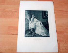 1884年照相凹版《伤离别》(BEFORE THE BALL)-- 出自19世纪德国画家,弗里茨·保尔森(Fritz Paulsen,1838–1898)的油画作品 -- 美国Gebbie艺术公司出版 -- 版画纸张43*30厘米