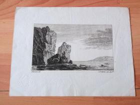 1770年铜版蚀刻《大师雕刻景观:湖中荒岛》-- 出自18世纪著名法国风景画家,Jean Baptiste Pillement (1728-1808)的绘画作品 -- 雕刻师:Johann Georg Hertel the Elder(德国,?-1780) -- 后附卡纸22*16.5厘米,版画纸张15*9厘米 -- 带有皇家印章