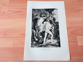 1892年铜凹版腐蚀《喀戎教导阿喀琉斯》(CHIRON AND ACHILLES)-- 出自19世纪奥地利画家,利奥波德·巴拉(Leopold Bara,1846–1911)油画 -- 喀戎是古希腊神话中的一个半人马,是克洛诺斯和菲吕拉的儿子,克洛诺斯把菲吕拉变成母马与其交合生下喀戎,喀戎是阿喀琉斯在内希腊诸多英雄的老师 -- 选自《特洛伊战争》-- 维也纳艺术画廊出版 -- 版画42*28厘米
