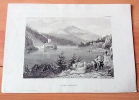 """19世纪钢版画《风景画:风光秀美的多瑙河""""瓦豪大峡谷"""" (瓦豪河谷),奥地利下奥地利州》(BURG WOERTH)-- 多瑙河谷最美的一段要数下奥地利州的瓦豪风景区,人们称之为""""浪漫之路"""";从梅尔克到克雷姆斯,总长30公里,多瑙河在这里进入了蜿蜒曲折的峡谷,两岸尽是郁郁葱葱的丘陵和山峰上的一座座中世纪古堡 -- 版画纸张22.5*16厘米"""