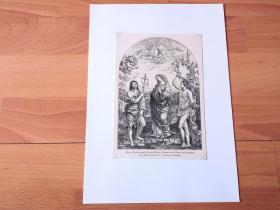 19世纪木刻版画《文艺复兴早期名画:玛利亚向施洗约翰和塞巴斯蒂安报喜》(Marie Verkundigung mit den Heiligen Johannes den Taufer und Sebastian)-- 出自文艺复兴意大利画家、拉斐尔的启蒙老师,蒂莫泰奥·维蒂(Timoteo Viti,1469-1523)油画,藏于马德里普拉多博物馆 -- 后附卡纸30*21厘米,版画19*13厘米
