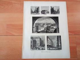 1882年木刻版画《风景画:美国费城的知名建筑,宾夕法尼亚州》(Bilder aus Philadelphia)-- 图中包括:1. 费城独立宫(Independence Hall,建立于1732年,原为州政府,后于1776年7月,在该处发表《独立宣言》);2. 歌德学院(建校于1848年,全美最著名的高中之一)等建筑 -- 选自《风景如画的美国》-- 版画纸张33.5*26厘米