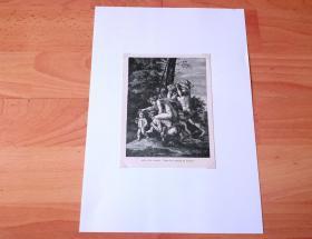 19世纪木刻版画《文艺复兴大师作品:牧神与仙女》(FAUN AND MYMPH)-- 出自17世纪法国古典主义绘画奠基人,尼古拉斯·普桑(Nicolas Poussin,1594-1665)的油画作品 -- 画作描绘了古希腊神话中,半人半兽的牧神潘,在林中与宁芙仙女嬉戏的场景 -- 后附卡纸30*21厘米,版画纸张15*12厘米
